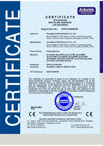 QLQ-BPM,RPM, CCPMS, CMBP, CCPMD, HGPM and others Anbotek Certificate