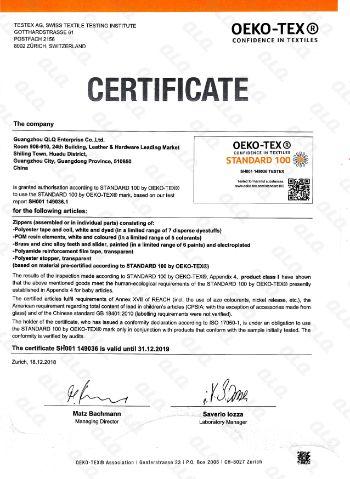 Testex Certificate