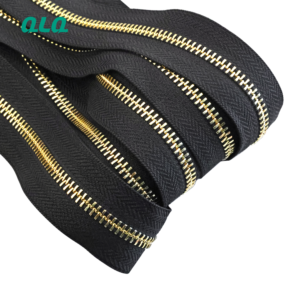 Wholesale 5# Brass Alunminum Long Chain Metal Zipper or Zips Roll